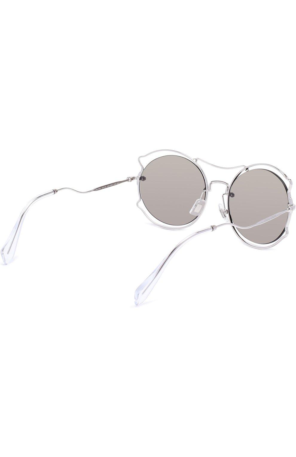 Женские солнцезащитные очки MIU MIU серебряного цвета, арт. 50SS-1BC2B0 | Фото 4