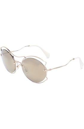 Женские солнцезащитные очки MIU MIU серебряного цвета, арт. 50SS-ZVN1C0 | Фото 1