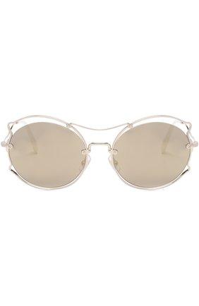 Женские солнцезащитные очки MIU MIU серебряного цвета, арт. 50SS-ZVN1C0 | Фото 3