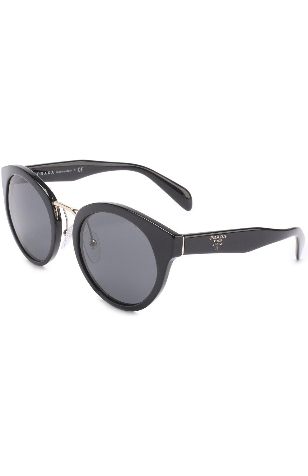 Женские солнцезащитные очки PRADA черного цвета, арт. 05TS-1AB1A1 | Фото 1