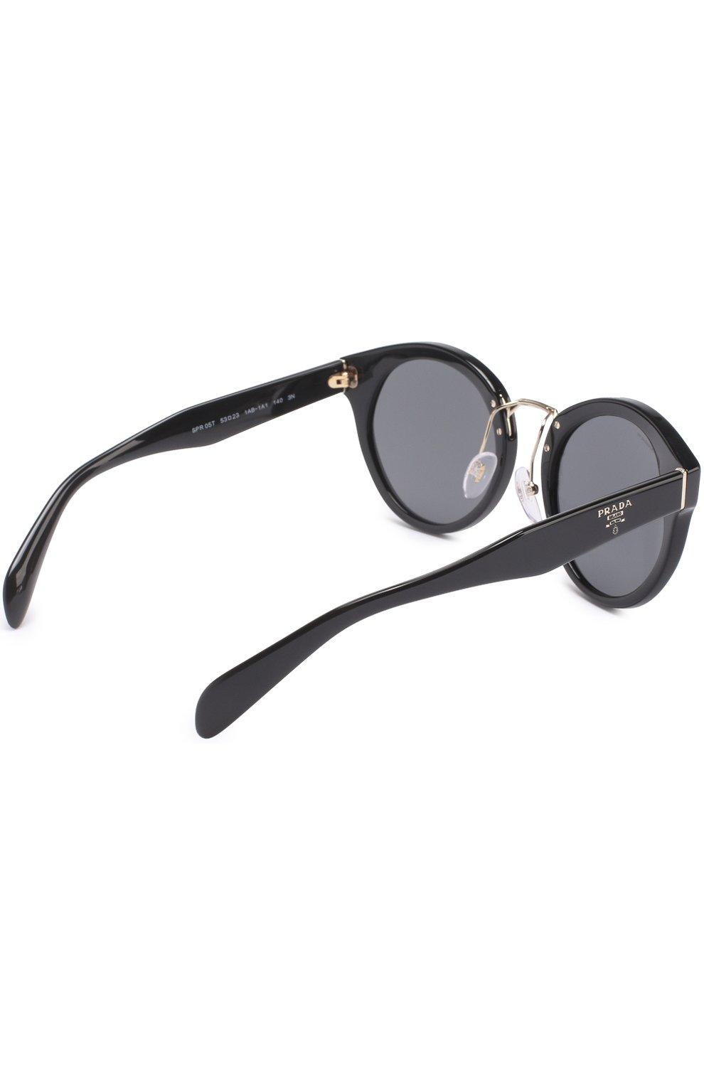 Женские солнцезащитные очки PRADA черного цвета, арт. 05TS-1AB1A1 | Фото 4