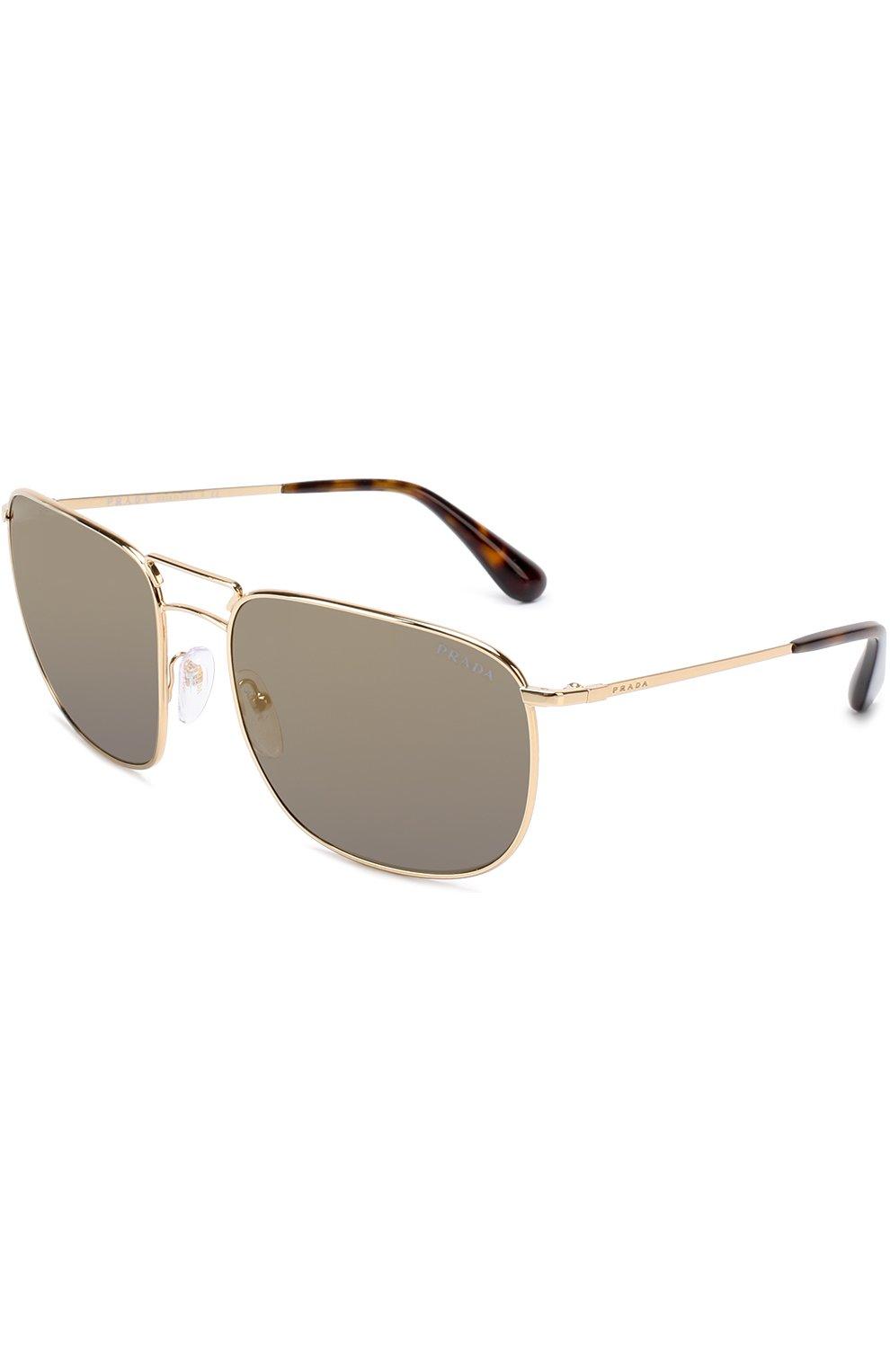 Женские солнцезащитные очки PRADA золотого цвета, арт. 52TS-5AK4L0 | Фото 1