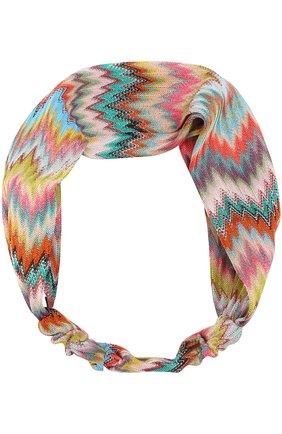 Вязаная повязка для волос Missoni разноцветного цвета   Фото №1