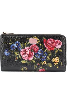 Кожаный кошелек с принтом на молнии Dolce & Gabbana черного цвета | Фото №1