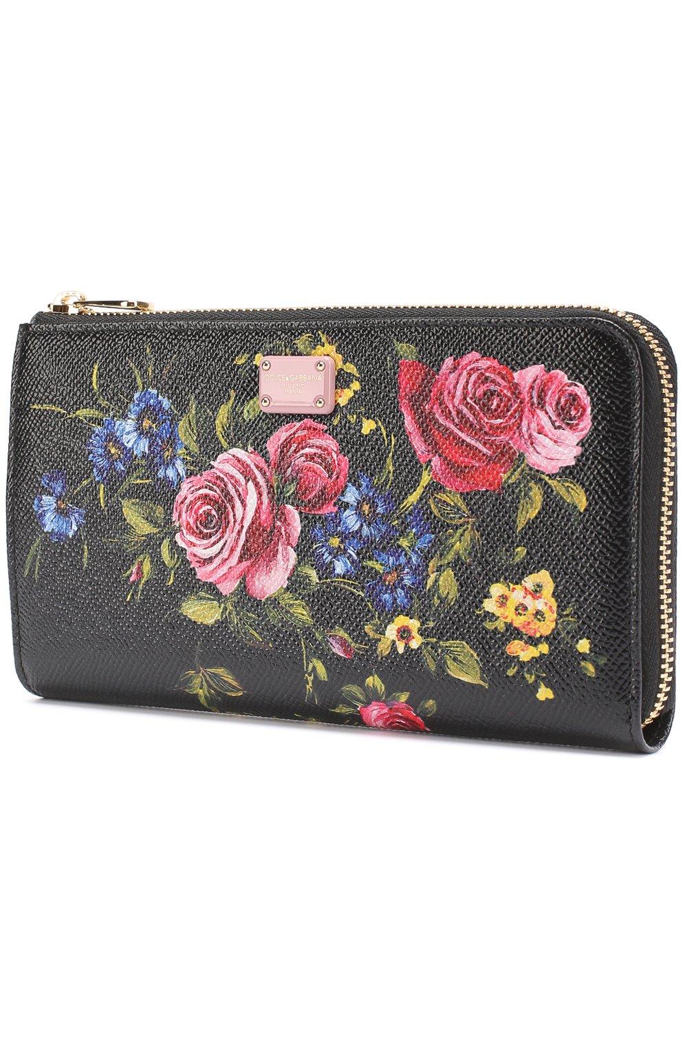 Кожаный кошелек с принтом на молнии Dolce & Gabbana черного цвета | Фото №2