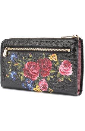 Кожаный кошелек с принтом на молнии Dolce & Gabbana черного цвета | Фото №3