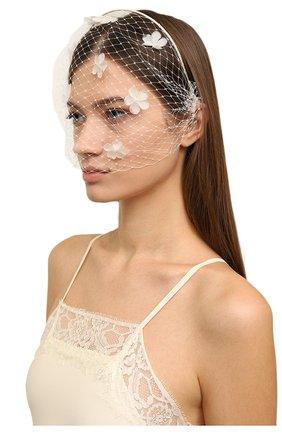 Ободок с кружевным декором Jennifer Behr сиреневого цвета   Фото №1