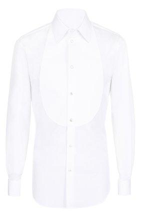 Мужская хлопковая сорочка с итальянским воротником GIORGIO ARMANI белого цвета, арт. VSCSBT/VSA0C | Фото 1 (Материал внешний: Хлопок; Длина (для топов): Стандартные; Рукава: Длинные; Статус проверки: Проверено; Воротник: Кент)
