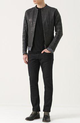 Куртка на молнии из кожи крокодила  Isaac Sellam черная | Фото №1