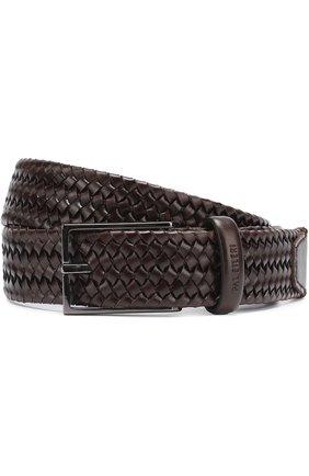 Плетеный кожаный ремень с металлической пряжкой Pal Zileri коричневый   Фото №1