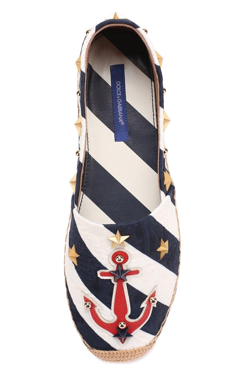 Текстильные эспадрильи с аппликациями и заклепками Dolce & Gabbana синие   Фото №4