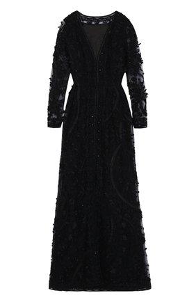 Шелковое платье с декоративной вышивкой и длинным рукавом   Фото №1