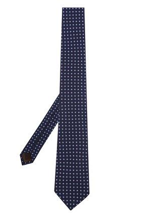 Шелковый галстук с узором Church's темно-синего цвета | Фото №1