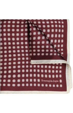 Мужской шелковый платок с узором ERMENEGILDO ZEGNA бордового цвета, арт. Z9I1939A | Фото 1