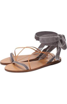Бархатные сандалии Valentino Garavani с лентами на щиколотке | Фото №1