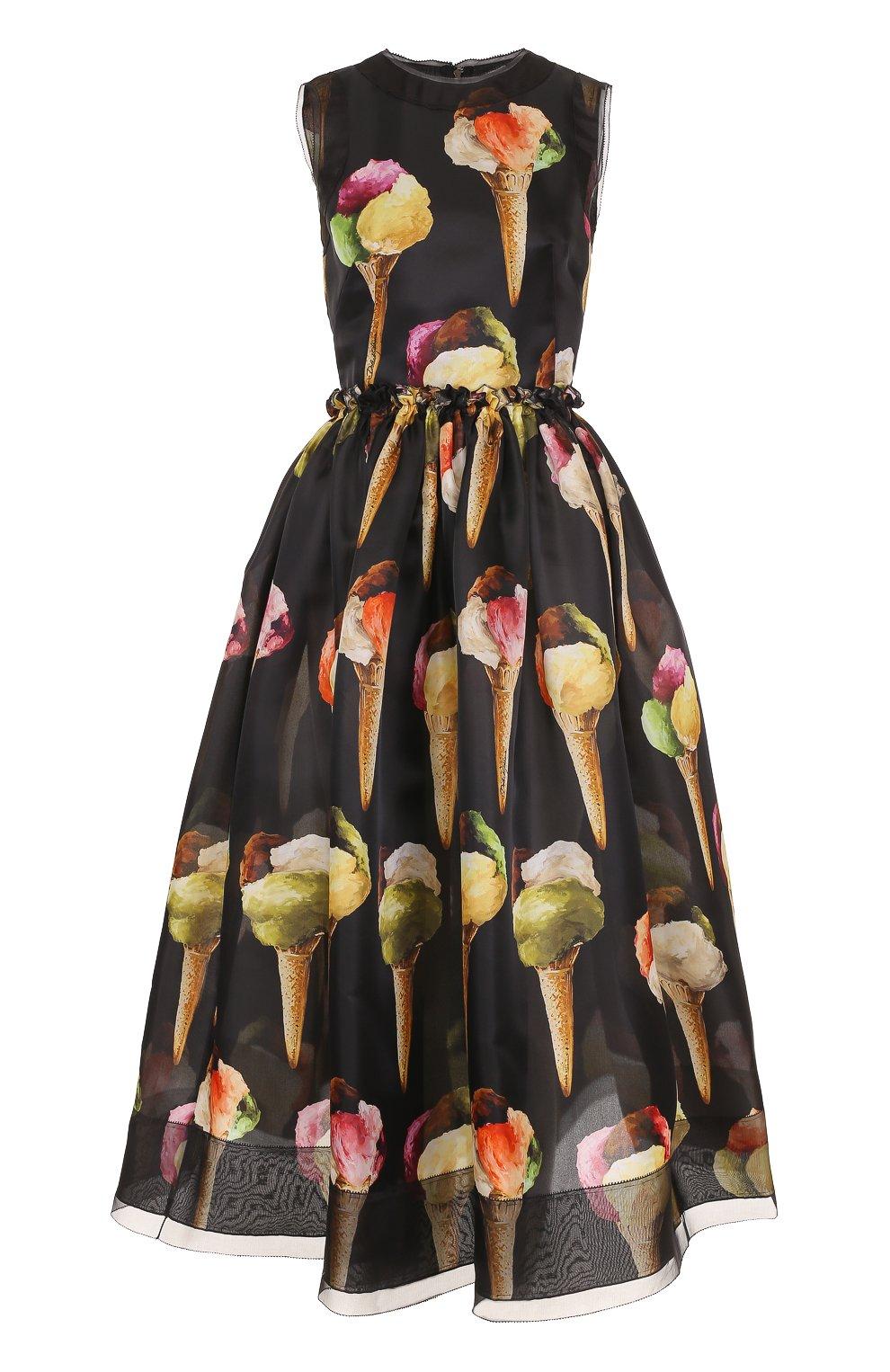 Шелковое приталенное платье с принтом в виде мороженого   Фото №1