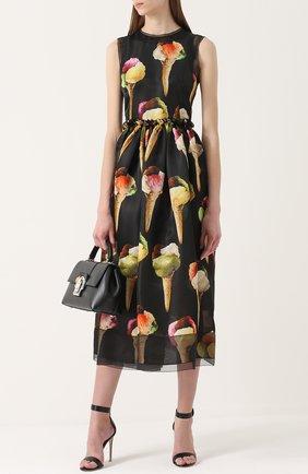 Шелковое приталенное платье с принтом в виде мороженого Dolce & Gabbana желтое   Фото №2