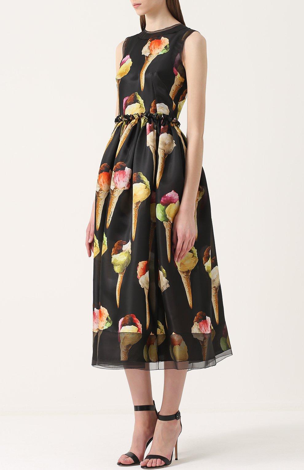 Шелковое приталенное платье с принтом в виде мороженого Dolce & Gabbana желтое   Фото №3