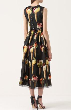 Шелковое приталенное платье с принтом в виде мороженого Dolce & Gabbana желтое   Фото №4