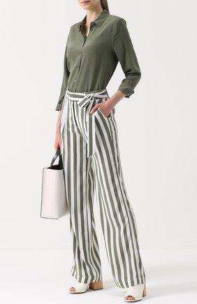 aa7a856e Женские зеленые шелковые брюки в полоску с поясом EQUIPMENT — купить ...