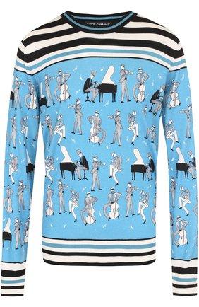 Джемпер тонкой вязки из смеси кашемира и шелка с принтом Dolce & Gabbana синий | Фото №1