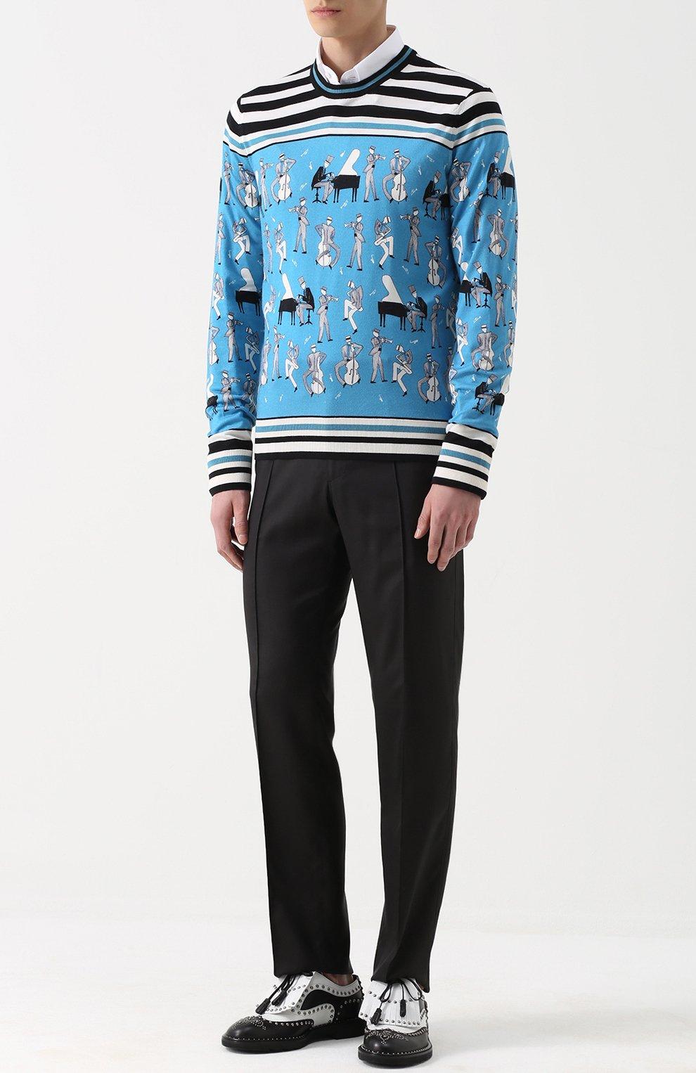 Джемпер тонкой вязки из смеси кашемира и шелка с принтом Dolce & Gabbana синий | Фото №2