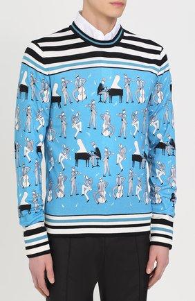 Джемпер тонкой вязки из смеси кашемира и шелка с принтом Dolce & Gabbana синий | Фото №3