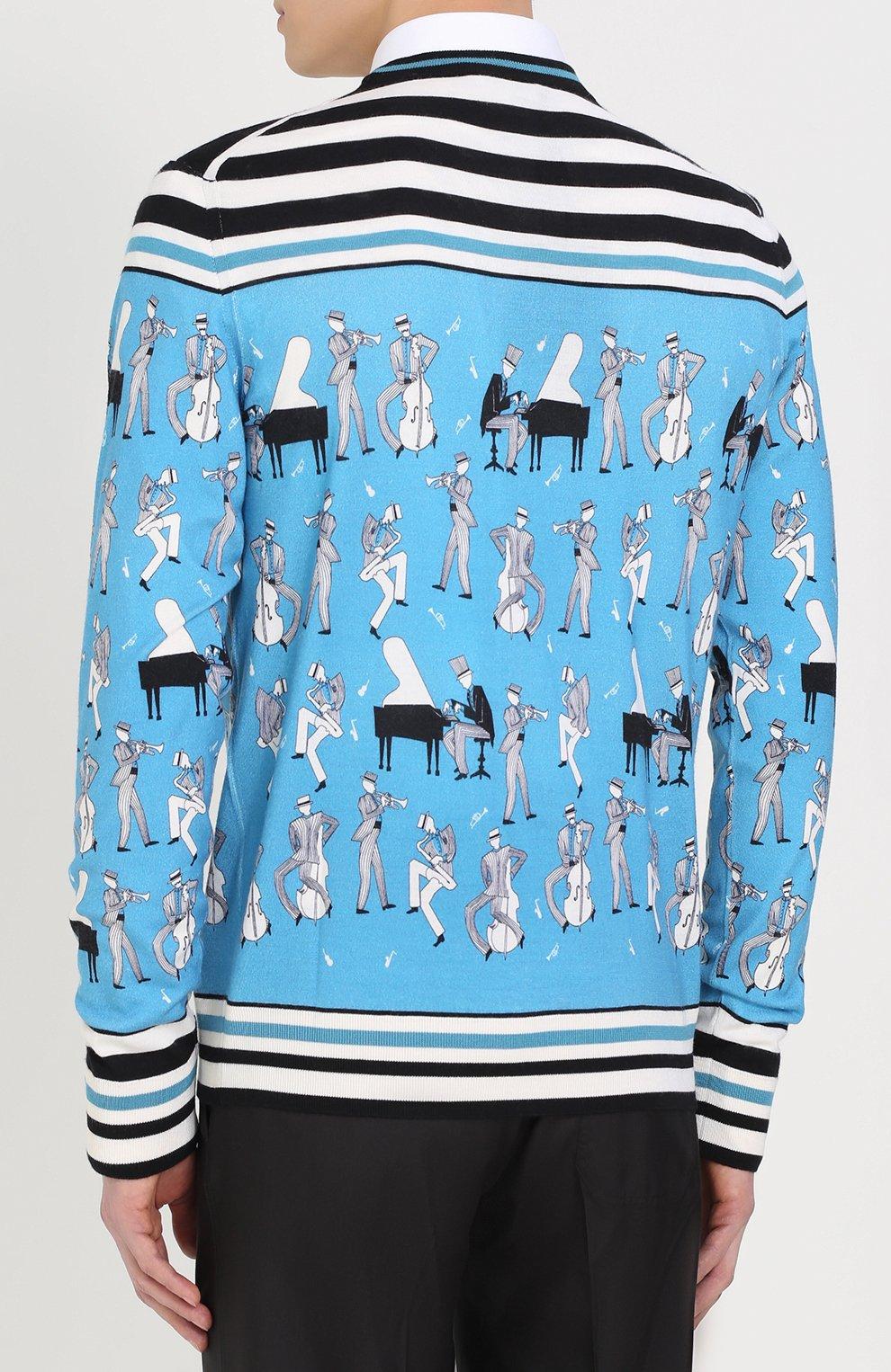 Джемпер тонкой вязки из смеси кашемира и шелка с принтом Dolce & Gabbana синий | Фото №4