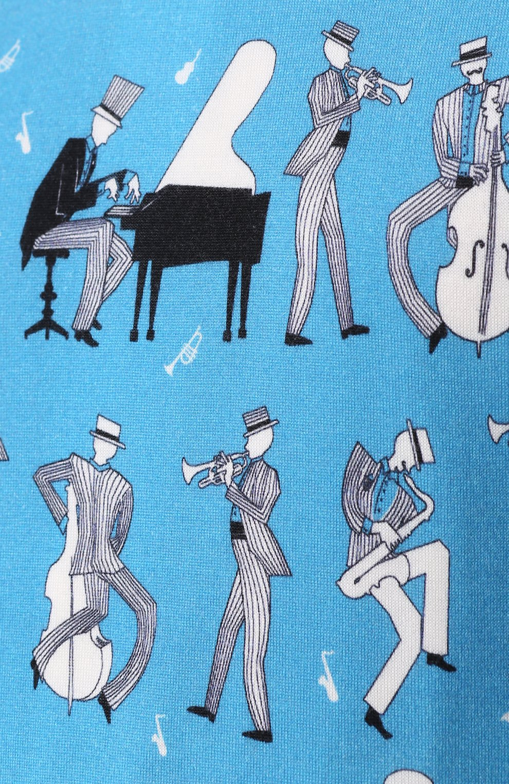 Джемпер тонкой вязки из смеси кашемира и шелка с принтом Dolce & Gabbana синий | Фото №5