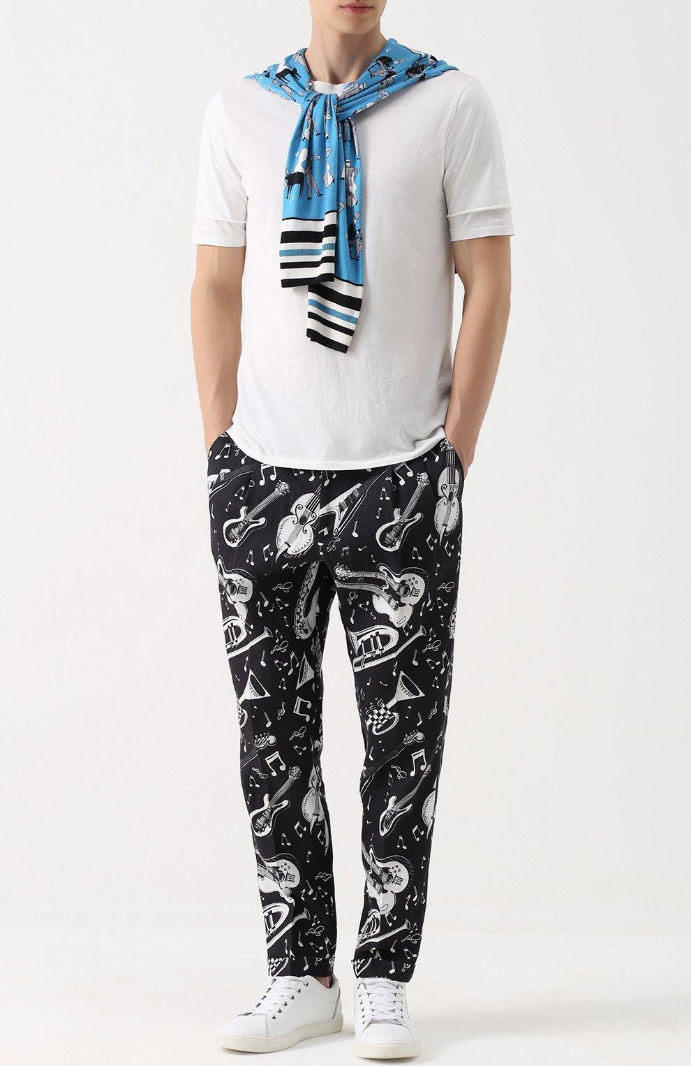 Льняные брюки с принтом | Фото №2