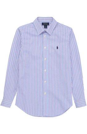 Детская хлопковая рубашка в контрастную полоску и логотипом бренда POLO RALPH LAUREN разноцветного цвета, арт. B04/XZ76Z/XY76Z | Фото 1 (Материал внешний: Хлопок; Рукава: Длинные; Стили: Классический)