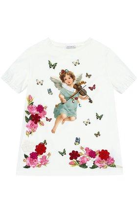 Хлопковая футболка с принтом и аппликациями | Фото №1