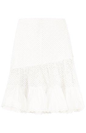 Кружевная юбка-миди с оборками Sonia by Sonia Rykiel белая | Фото №1