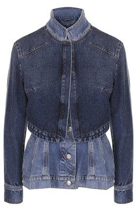 Приталенная джинсовая куртка с потертостями