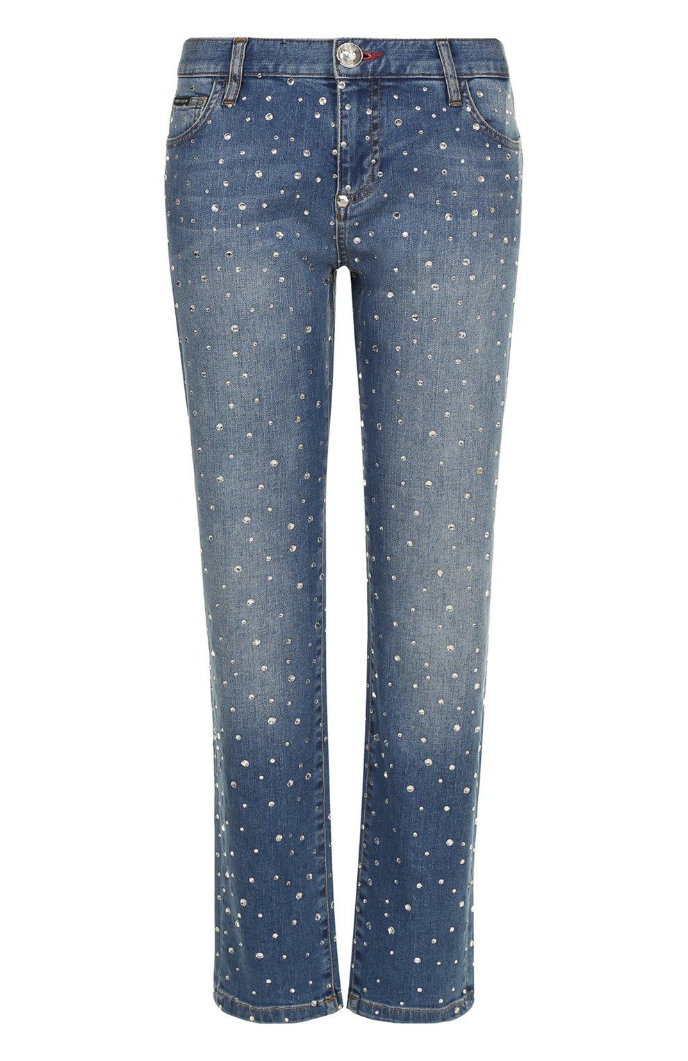 e5dac08986c Женские синие укороченные джинсы со стразами и потертостями PHILIPP ...