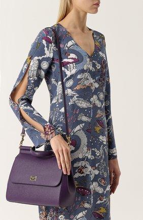 Сумка Sicily medium new Dolce & Gabbana сиреневая цвета   Фото №5
