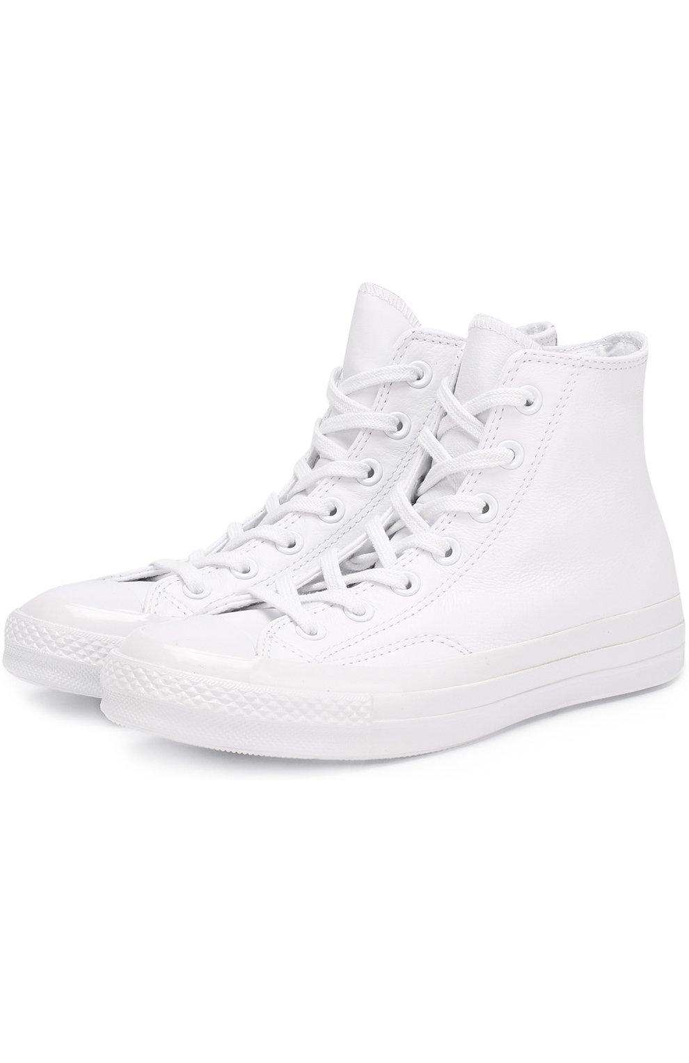 Высокие кожаные кеды All Star Converse белые  a8f1db5aaf1cb