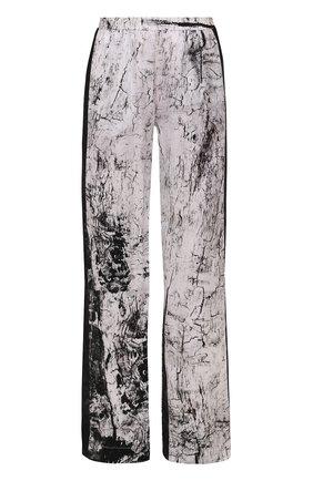 Шелковые брюки с принтом и контрастными лампасами Ilaria Nistri черные | Фото №1