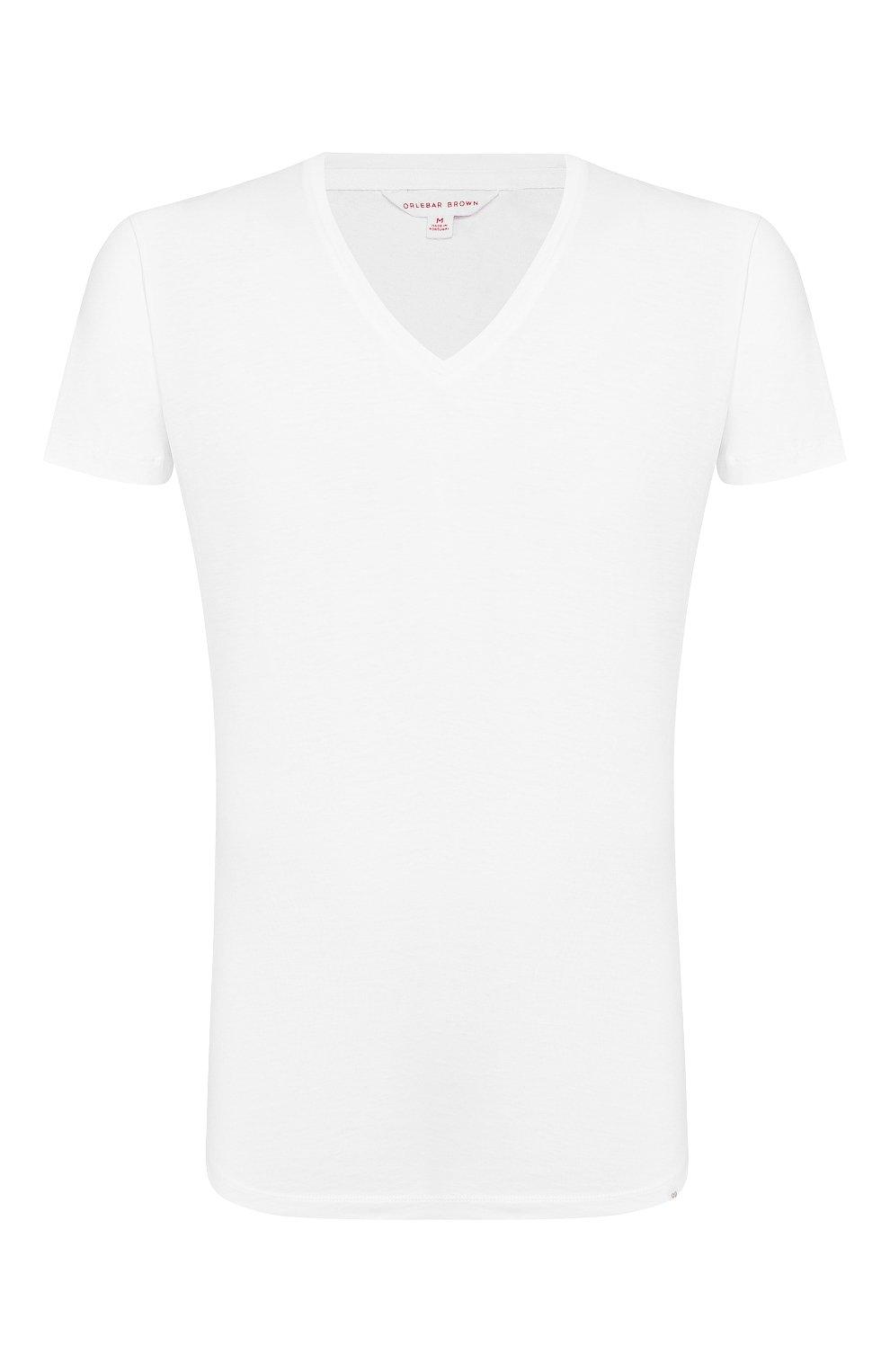 Мужская хлопковая футболка с v-образным вырезом ORLEBAR BROWN белого цвета, арт. 259687 | Фото 1 (Принт: Без принта; Рукава: Короткие; Длина (для топов): Стандартные; Материал внешний: Хлопок; Статус проверки: Проверено, Проверена категория; Стили: Кэжуэл)