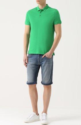 Хлопковое поло с логотипом бренда Armani Jeans зеленое | Фото №1