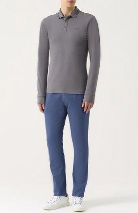Хлопковое поло с длинными рукавами Armani Jeans серое | Фото №1
