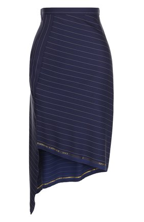 Мини-юбка асимметричного кроя в полоску Aquilano Rimondi синяя | Фото №1