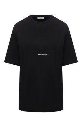 Женская хлопковая футболка SAINT LAURENT черного цвета, арт. 460876/YB2DQ | Фото 1
