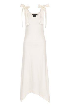 Хлопковое платье асимметричного кроя с бантами Victoria/Tomas белое   Фото №1