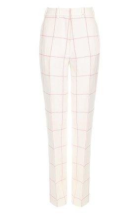 Льняные брюки прямого кроя в клетку Hillier Bartley кремовые | Фото №1