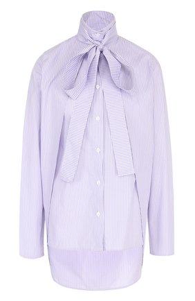 Хлопковая блуза асимметричного кроя с воротником аскот | Фото №1