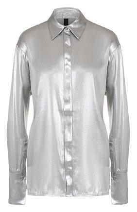 Женская шелковая блуза прямого кроя с металлизированной отделкой Ilaria Nistri, цвет серебряный, арт. 24CY363/25 в ЦУМ | Фото №1