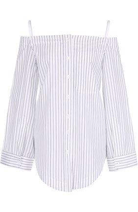 Женская хлопковая блуза в полоску с открытыми плечами Aquilano Rimondi, цвет белый, арт. 19-044 TE2189 в ЦУМ | Фото №1
