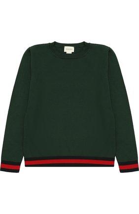 Хлопковый пуловер с контрастными манжетами | Фото №1