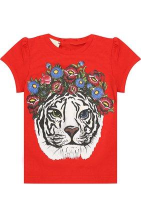 Детский хлопковая футболка с принтом GUCCI красного цвета, арт. 457684/X5M88 | Фото 1